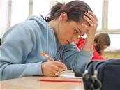 škola, student, únava, studium, učebnice, zkouška