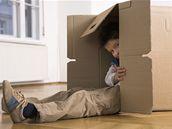 dítě, krabice, byt, nájem, pokoj