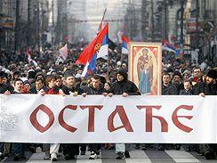 Protesty Srbů proti nezávislosti Kosova - V srbské metropoli Bělehradě se v