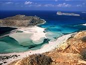 �ecko, Kr�ta. Z�toka Balos, v pozad� pevnost Gramvoussa