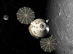 Koncept lodi Oríon, na ilustraci kroužící na orbitě Měsíce