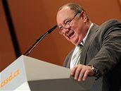 V�t�zslav Jand�k na sjezdu �SSD v Pr�myslov�m pal�ci (21. b�ezna 2009)