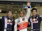 Sebastian Vettel, Lewis Hamilton a Mark Webber