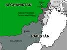 Mapa Afghánistánu a Pákistánu