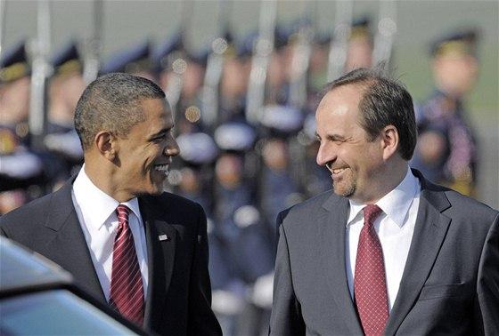 Ministr zahraničí Jan Kohout přivítal Baracka Obamu