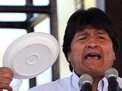 Bolivijský prezident Evo Morales na ekologické konferenci v Cochabambě (20. dubna 2010)