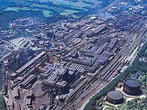 Třinecké železárny. Letecký pohled.