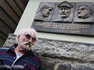 Pavel Landovský při odhalení pamětní desky na jeho rodném domě  v Havlíčkově Brodě