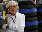 Bernie Ecclestone i po osmdesátce rozdává příkazy v padoku formule 1.