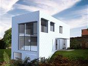 Ornamentální fasáda s velkým panoramatickým oknem je hlavním exteriérový výrazovým prvkem domu