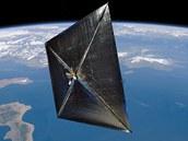 Rozvinutá sluneční plachta Nano Sail v představě ilustrátora