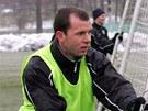 František Dřížďal (vlevo) na tréninku fotbalového Sokolova.