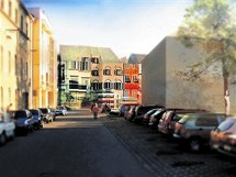 Vizualizace obchodn�ho a spole�ensk�ho centra, kter� m� vzniknout v centru Prost�jova.