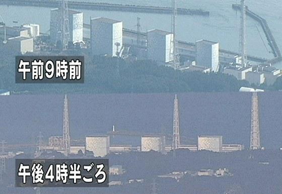 Sn�mek ukazuje jadernou elektr�rnu Fuku�ima I p�ed a po v�buchu.