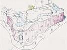 Představa Jana Kaplického o vzhledu budovy, jak ji sám načrtl.