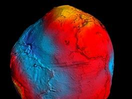Geoid zobrazující rozdíly v gravitačním poli Země. Červené oblasti jsou s vyšší...