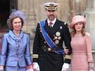 Španělská královna Sofia, princ Filip a jeho žena Letizia
