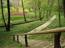 V parku a na zahradě je množství dřevěných cestiček a mostků přes potok.