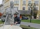 Instalace sochy královéhradeckého starosty Ulricha