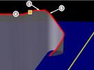 Dr�ha Airbusu AF447 b�hem posledn�ch p�ti minut. Jednotliv� body: 4) vypnut� autopilota, 5) varov�n� p�ed ztr�tou vztlaku, 6) kapit�n se vr�til do kokpitu