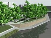 Vizualizace nových náplavek kolem Pražského mostu v Hradci Králové