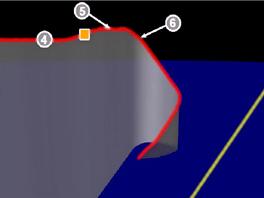 Dráha Airbusu AF447 během posledních pěti minut. Jednotlivé body: 4) vypnutí autopilota, 5) varování před ztrátou vztlaku, 6) kapitán se vrátil do kokpitu