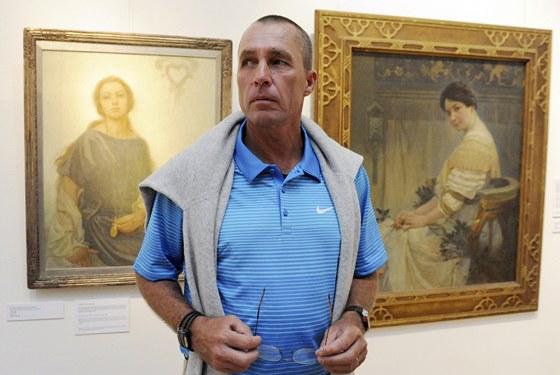 Ivan Lendl na ostravské výstavě děl Alfonse Muchy