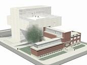 Vizualizace Pleskotova návrhu na rozšíření Domu umění o stavbu s názvem Bílý stín.