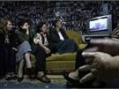 Vdovy po mužích zabitých u Srebrenice sledují proces s Mladičem (3. června 2011)