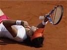 Čínská tenistka Li Na se raduje z vítězství na Roland Garros.