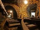 Různé typy výdřev důlního díla v jáchymovském hornickém skanzenu Štola číslo 1.