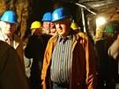 Návštěvníci při prohlídce v jáchymovském hornickém skanzenu Štola číslo 1.