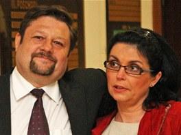 Petr Wolf s manželkou Hanou před zahájením jednání Krajského soudu v Ostravě