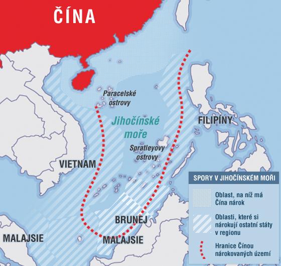Nároky Číny na pobřežní oblasti v jihočínském moři