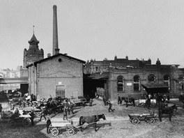 Historický snímek areálu ostravských jatek.