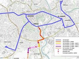 Mapa trasy nové olomoucké tramvajové tratě na Nové Sady.