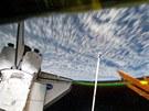 Polární záře, jak ji vyfotili astronauti ze stanice ISS.