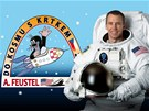 Astronaut Andrew Feustel a krtek Zde�ka Milera - logo kampan� Do kosmu s krtkem