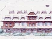 Vizualizace podoby Slezského domu na Lysé hoře v Beskydech.