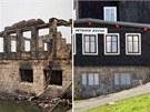 Petrova bouda v Krkonoších po požáru a před ním