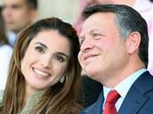 Rania Al-Abdullah se svým manželem a jordánským králem Abdalláhem II.