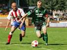 BÝVALÍ PRVOLIGISTÉ se utkali ve druhé lize. Za míčem spěchá vlevo Tomáš Došek ze Zbrojovky Brno a vpravo sokolovský kapitán František Drížďal.