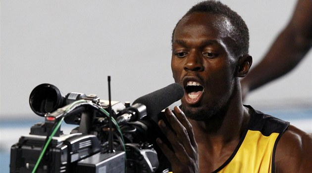 USAIN BOLT. Dobe naladn&#253;  Usain Bolt po v&#237;tzn&#233;m rozbhu na mistrovstv&#237; svta