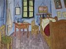 Obraz malířovy ložnice v jeho žlutém domě v Arles