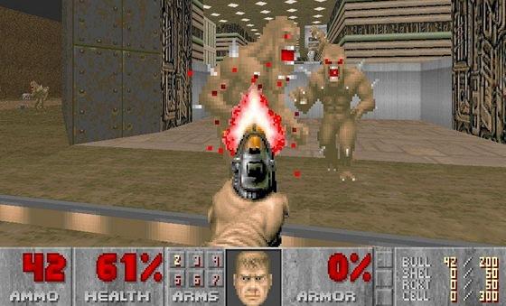 Doom se py�nil rozv�tven�mi �rovn�mi a syst�m l�k�rni�ek motivoval k prozkoum�v�n� map.
