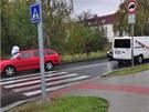 Přechod na Libušské ulici v Praze, nedaleko kterého Deana Horváthová-Jakubisková srazila chodce. (19. října 2011)