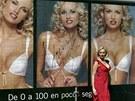 Adriana Sklenaříková-Karembeu coby tvář podprsenek Wonderbra v roce 2001