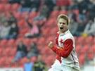 PRVNÍ GÓL. Slávistický odchovanec Martin Hurka vstřelil premiérový gól v první
