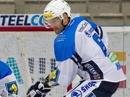 DEVÍTISTOVKA. Plzeňský hokejista Jiří Hanzlík (na snímku s brankářem Adamem