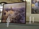Vizualizace umístění Slovanské epopeje do Fantovy budovy na hlavním nádraží v